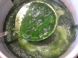 Auf der erhitzen Küpe bildet sich giftig aussehender Schaum. Selbst der färbt noch.